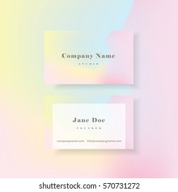 Feminine colorful vibrant holographic business card template in minimal style