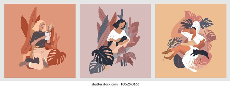 Feminine concept flyers. Happy cute girls resting with cat and home plants. Feminine Daily life by young woman concept. Fashion illustration by female beauty and mental, femininity and feminism