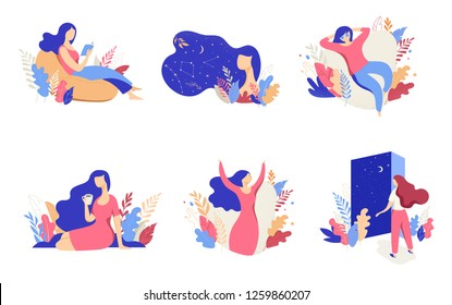 Feminine concept illustration, beautiful women, different situations. Characters decorated with flowers and leaves.