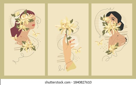 Feminine cover templates for social media stories, 1080 x 1920 px each. Vector fashion illustration. Trendy collages with hidden faces and hand with chrysanthemum flower.