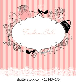 Feminine doodles, gorgeous frame in French style