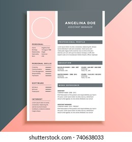 Feminine And Elegant Pink Resume Template