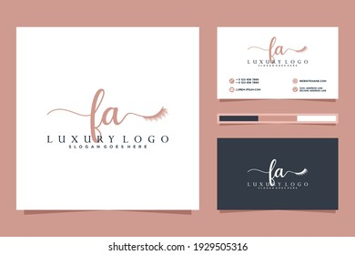 Feminine FA Initials logo collection  with business card template.