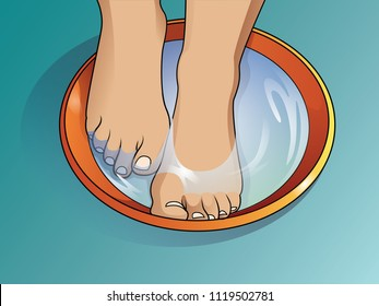 Feminine feet in foot bath