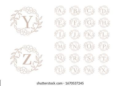 Feminine floral initial logo templates. Alphabet logo template. Vector illustration EPS 10