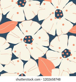 Feminine floral pattern. Fashionable template for design. Vector.