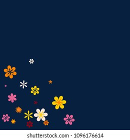 Feminine Floral Pattern with Simple Small Flowers for Greeting Card or Poster. Naive Daisy Flowers in Primitive Style. Vector Background for Spring or Summer Design.
