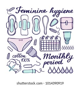 Feminine hygiene doodle vector set. Hand-drawn cartoon collection - sanitary napkin, tampon, menstrual cup, panties, monthly calendar. Doodle drawing. Vector illustration