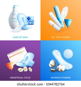 Feminine hygiene realistic concept icons set with skin care symbols isolated vector illustration