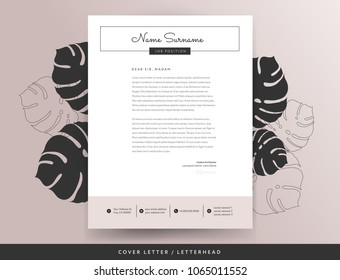 Feminine letterhead cover letter design template - elegant stylish beige pink color background with monstera leaves vector illustration
