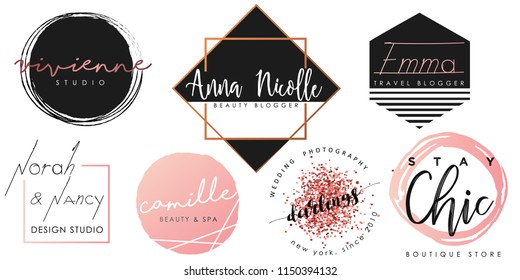 Feminine logo set in black, pink and gold
