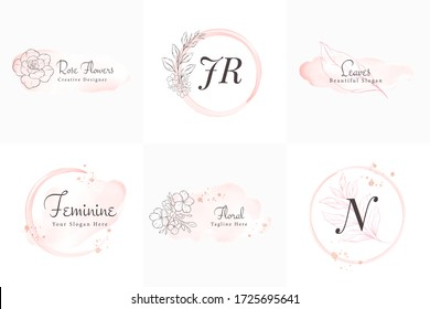 Feminine logos collection, hand drawn modern minimalistic and floral and watercolor brush stroke. Elegant badge templates for branding vector