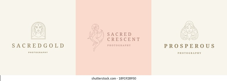 Feminine logos emblems design templates set with magic female vector illustrations minimal linear style. Outline symbols for hairdresser insignia or beauty salon branding