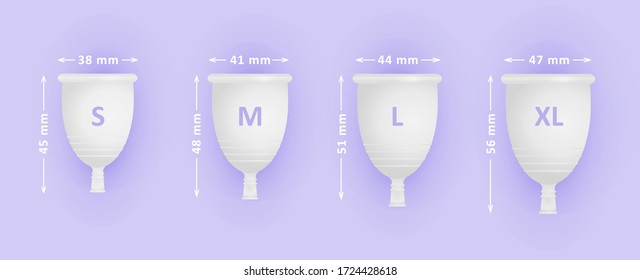 Feminine menstruation cup set. Different sizes of cups S, M, L, XL. Womans menstrual care. 3D realistic vector illustration of intimate hygiene products.