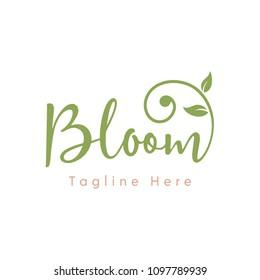 Feminine Modern Bloom Typography logo design inspiration