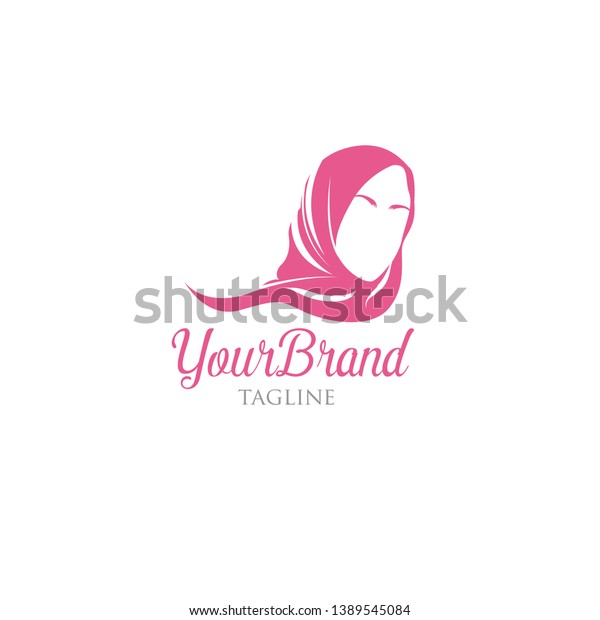 Feminine Pink Hijab Logo Template Stock Vector (Royalty
