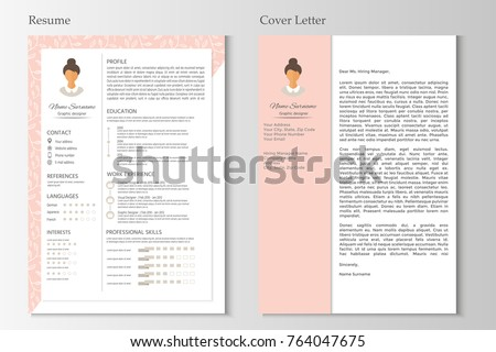 Feminine Resume And Cover Letter With Infographic Design Stylish CV Set For Women Clean