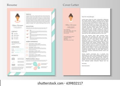 Feminine resume with infographic design. Stylish CV set for women. Clean vector.