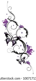 Feminine Tribal Tattoo ornament with purple flowers and butterfly.