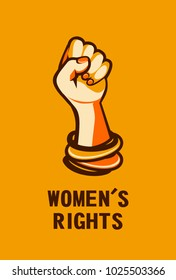 Feminism concept female power. female power, great design for any purposes. Women power. Female fist.
