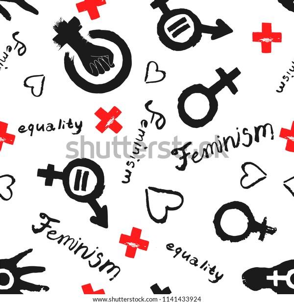 Feminism concept seamless pattern. Girl Power illustration isolated on white.