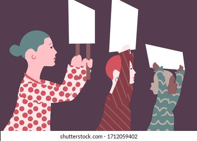Feminism, diversity protest. Women holding blank placards and banners taking part in parade. Social activism. Diversity, women's right, movement, democracy. Vector illustration. EPS 10.