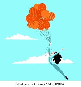Feminism - free woman flying with balloons