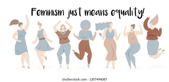 Feminism illustration with dancing women, equal rights design