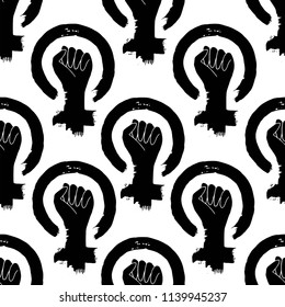 Feminism Protest Hand seamless vector pattern. Female Woman hand drawn Icon. Illustration isolated on white.