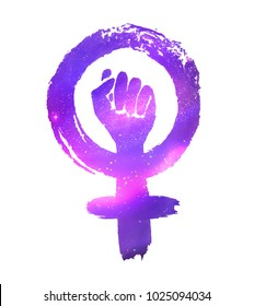 Feminism protest symbol with ultraviolet outer space inside.
