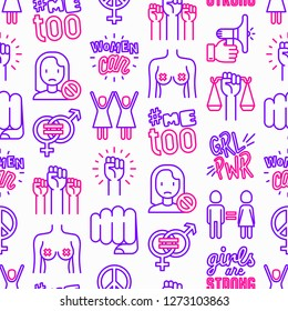 Feminism seamless pattern with thin line icons: women's rights, girl power, gender equality, sex dicrimination, me too, protest, girls are strong. Modern vector illustration.