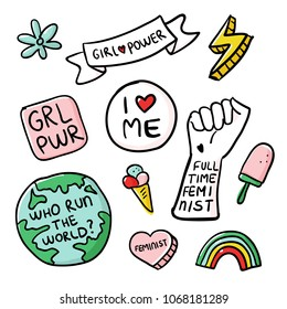 Feminism slogan and patches. Vector 80s style design. Retro pop stickers and badge. Girl power.  Full time feminist. I love me. Feminist. Illustrations of pin, ice cream.