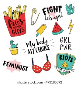 Feminism slogan and patches. Vector 80s style design. Retro pop stickers and badge. My body, my choice. Fries before guys, fight like a girl. Girl power. Illustrations of pin, ice cream, red bra.