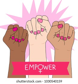 Feminism symbol. Fighting fist of a woman. Lovely vector illustration. Fight for the rights and equality.