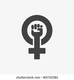 Feminism Symbol isolated on grey background. Vector illustration, EPS10.