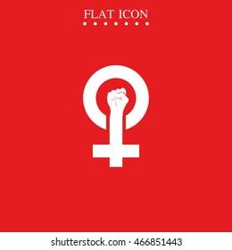 Feminism symbol. Woman power vector icon. Fist illustration.