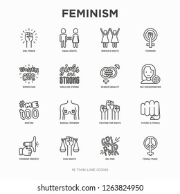 Feminism thin line icons set: women's rights, girl power, gender equality, sex dicrimination, me too, protest, girls are strong. Modern vector illustration.