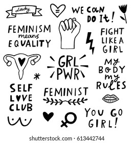 Feminism vector icon set. Hand lettering quotes