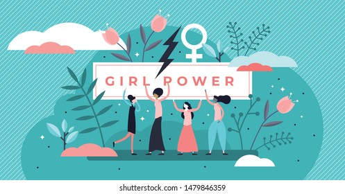 Feminism vector illustration. Flat tiny woman gender movement persons concept. Female equality symbol with lady power protest poster. Social stereotypes and discrimination problem fighting lifestyle.