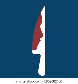 Feminism - Violence Against Women - Women Rights - Domestic Violence - silhouette of woman on a knife