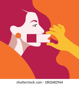 Feminism - Violence Against Women - Women Rights - Domestic Violence - male hand shifting woman's mouth