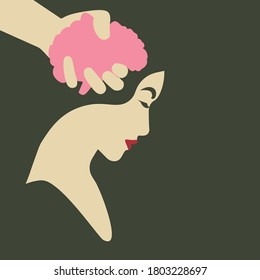 Feminism - Violence Against Women - Women Rights - Domestic Violence - male hand squeezing woman's brain