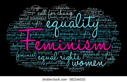 Feminism word cloud on a black background.