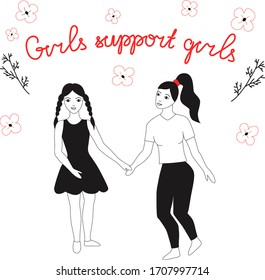 Feminist and body positive movement - concept for prints, cards. Vector illustration with female characters and hand lettering phrase girls support girls.
