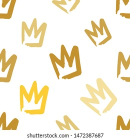 Feminist golden seamless pattern with crown. Girl power concept. Gold elements on white background. Woman textile design. Female hand drawn brush graphic.