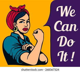 Feminist iconic woman rolling up her sleeves, women's liberation, gender equality, female power, vintage poster, we can do it!