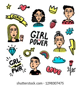 Feminist icons set. Feminist cute hand drawing illustration for print, brochure, greeting card, bag, clothing. Colorful Girl portraits, inscriptions and icons for pins and stickers. Vector