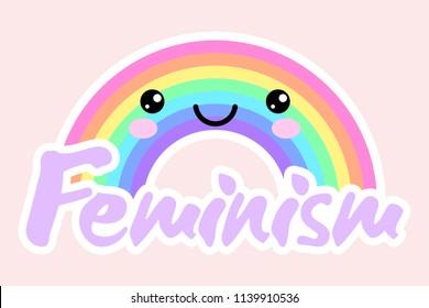 "Feminist LGBT symbolisc. Feminism happy rainbow sticker. Cute kawaii rainbow. Rainbow with inscription ""Feminism"". Vector illustration. Feminist logo"
