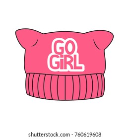 Feminist pink pussy hat. Vector illustration. Good for sticker, patch, pin or t-shirt print.