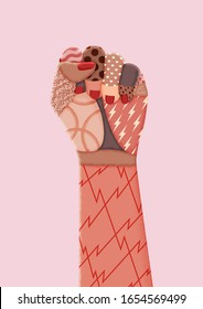 Feminist protest art print. Female raised hand illustration. Vector clenched fist, symbol of gender equality and women's rights activism.